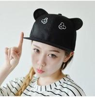 Hot Brand Fashion Snapback For Men Women Mickey Ear Black White Harajuku Baseball Cap Adjustable Hat Girl SCX163-M0365