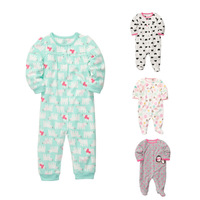 Fleece Baby Girls Pajamas Rompers Body suits Carters Foot Cover Newborn one-pieces Clothes TOP QUALITY