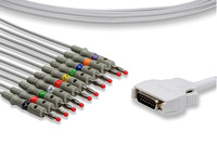 Mortara ELI10 One-Piece 10 Leads/12-channel EKG Cable with AHA Banana4.0 Leadwires for Electrocardiogram,CE and ISO Manufacturer