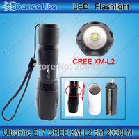 """2000LM """"UltraFire"""" E17 CREE XM-L2 U3 5M XM-L2 Zoom in/out LED Flashlight Torch (3xAAA/1x18650)"""