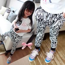 2014 spring models boys and girls zebra harem pants fashion knitted cotton leggings pants collapse free shipping (China (Mainland))
