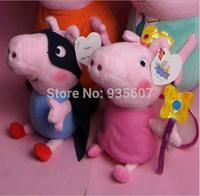 19CM 2 pcs/set hot sale fairy Peppa superman George Pig friends family Plush Toy Peppa Pig Stuffed Animals Dolls baby toys pepa