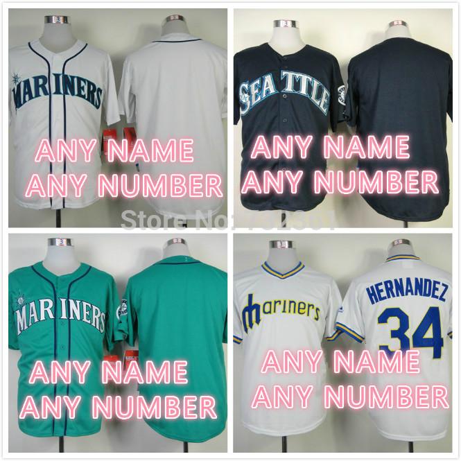 Versandkosten frei benutzerdefinierte Seattle Mariners personalisierte trikots genäht auf- Feld baseball trikots für männer( m- 3XL) Frauen und Jugend
