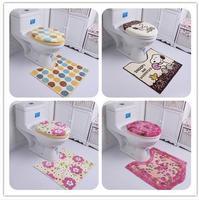 Free shipping ultrafine fiber print toilet three piece set bathroom toilet seat cover toilet mat potty pad toilet ring promotion
