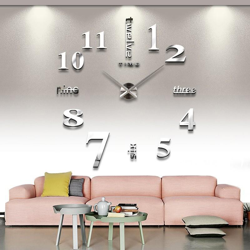 mode 3d big size wanduhr spiegel aufkleber diy kurze Wohnzimmer dekor meetting Zimmer wanduhr