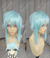 Sinon Blue Short Shaggy Cosplay Anime Wig