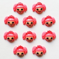 Lot 10pcs Hot Pink Lalaloopsy Crown Resin Cabochons Flatbacks Flat Back Girl Hair Bow Center Cell Phone Crafts RE-166