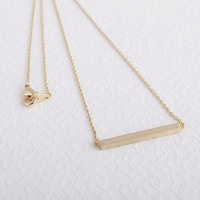 2014 New Hot Fashion 18K Gold/Silver floating charm young chain angel  Square Bar Necklace Tiny Necklace jewelry for women