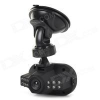 "HD 1.4"" LTPS 720P 5.0MP Wide Angle 12-LED IR Night Vision CCD Camcorder Car DVRs - Black"