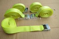 Free shipping 2pcs/lot 25mm 250kgx5M ratchet metal cam buckle tie down luggage load strap cargo lashing belt