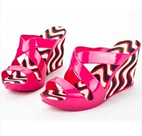 Free shipping New arrival 2014 melissa jelly shoes Fish mouth With slippers sandals leopard wedge wedge sandals