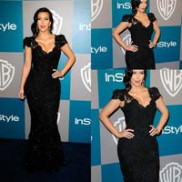 2014 Free Shipping  Custom Made Kim Kardashian Mermaid Trumpet V Neck Cap Sleeve Lace Black Evening Dress Celebrity Dresses