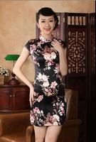 New Charming Chinese women's silk mini dress Cheongsam Black Size: S M L XL XXL