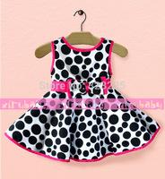Free shipping 2014 Summer new girls big circle bow sleeveless dress leopard dress 5pcs/lot