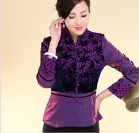 New Charming Chinese Women's silk embroidery jacket /coat purple Size: M L XL XXL XXXL