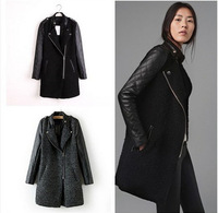 casacos femininos 2014 Woman Coat,New Fashion Women's Slim Wool blended Double-breasted Coat Winter Gray/black S/M/L CT001
