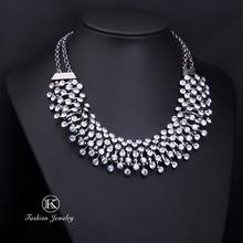 2014 Charm Silver Chains Choker Rhinestones Women Fashion Crystal Necklaces Pendants Statement Vintage Jewelry New Design