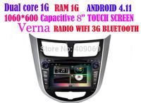 Top quality!Pure android 4.1 dual Core1G RAM1G Car Radio for Hyundai Verna Solaris with GPS,RADIO,bluetooth,3g,wifi!Free IGO map