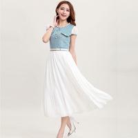 2014 summer new Korean Women Slim Round Neck Waist Denim Jeans Stitching Chiffon Dress.