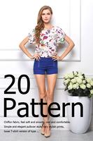 S/M/L/XL/XXL New 2014 Women Bird Printed Chiffon Blouses for Work Wear  Polk Dot Shirt  Women Tops Batwing Short-sleeve T-shirt