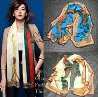 British style color block chains silk georgette satin long design silk scarf female spring and autumn 190cmx90cm