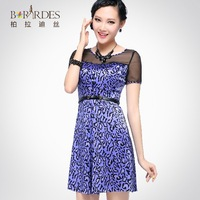 2014 Summer New Fashion Slim short-sleeved  Silk dress  Silk A-line dress Free Shipping