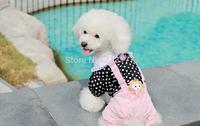 2014New! Spring Summer Fashion debonaire cute pet clothing  Polka Dots Coat Tops Strap Pants Jumpsuits