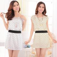 polka dot chiffon women summer dress vestido informal casual office dress tunic short sleeve mini dress Plus Size dot dress