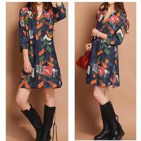 Hot new 2014 fashion brand  women spring summer dress jeans jean lips lip print plus size denim casual clothes loose dresses