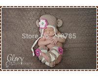 Free shipping Crochet Monkey Hat and Leg Warmer Patterns, Ear Flap Beanie, AMELIA and GEORGE MONKEY newborn photography props