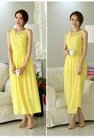 2014 summer new Women Slim Waist Round Neck Dress Bohemian Dress Stitching Lace Dress.