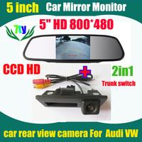 800*480 HD monitor car mirror + CCD For Audi A4L A4  VW Passat Tiguan Golf Passat Touran Jetta Sharan Touareg rear view camera