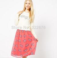 2014 Hot Sale Woman's Chiffon Material Fashion Whirligig Cartoon Printed Embellished High Waist Skirt Western Pattern  Skirt