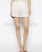 2014 Hot Sale Woman's Cotton Materials Flowers Lace Wave Edge Embellished Short Pants White XS S M L
