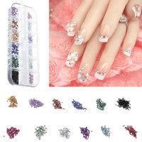 12 Colors,2000pcs/Lot DIY Nail Tools Acrylic Rhinestore Decoration Nail Tips Brilliant Glitter Nail Art Colorful Diamond