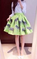 2014 Hot Sale Woman's Cotton Blends Material Lovely Zebra Embellished High Waist Skirt Western Pattern Green Skirt S/M