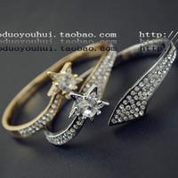 Control star series sparkling rhinestone double bracelet