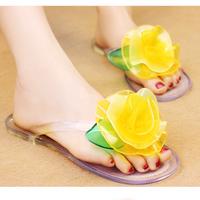 Beautiful flower sandals summer beach flip flops flat-bottomed female slippers new arrival 2014 rain female