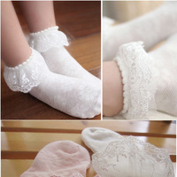 2015 spring and summer embroidery child mesh lace decoration socks female child laciness socks baby cotton 100%
