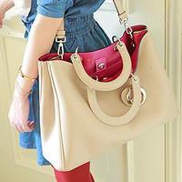 color block decoration bag portable one shoulder cross-body bag female