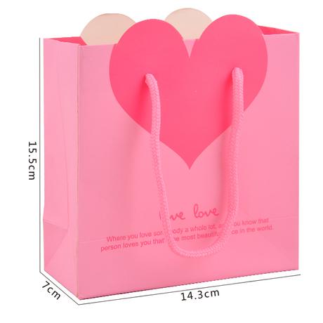 Wholesale Pink Heart Shape Gift Paper bag (Small Size: 15.5x14.3x7cm) 10Pcs/lot(China (Mainland))