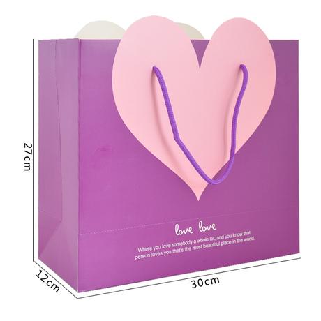 Wholesale Purple Heart Shape Gift Paper bag (Small Size: 15.5x14.3x7cm) 10Pcs/lot(China (Mainland))