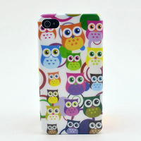 Free Shipping Cute Owl Pattern Hard  Protective Back Cover Case For iPhone4 4S