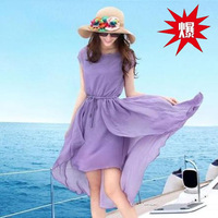 2014 new summer chiffon dress bohemian beach dress irregular thin swallowtail factory outlets