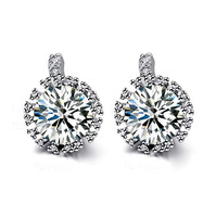 free shipping brand New fashion women A high-quality European and American white Inlaid crystal stud earrings
