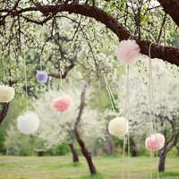 Free Shipping  50 pcs 20cm(8inches) Tissue Paper Pom Poms Wedding, Birthday, Baby shower, Nurseries decoration