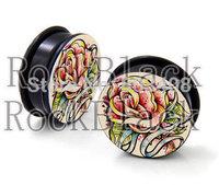 Rose flower  acrylic screw  ear plug flesh tunnel body jewelry  mixing 10 size MH518