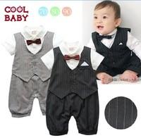 2014 NEW baby boy romper summer bebe gentleman suits vest striped short sleeve infants romper children sleepsuits free shipping
