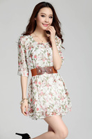 2014 Hot Sale Spring/Summer Women's Sweet Round Neck Floral Print Dress Half Sleeve Chiffon Dress With Belt 2X E3026