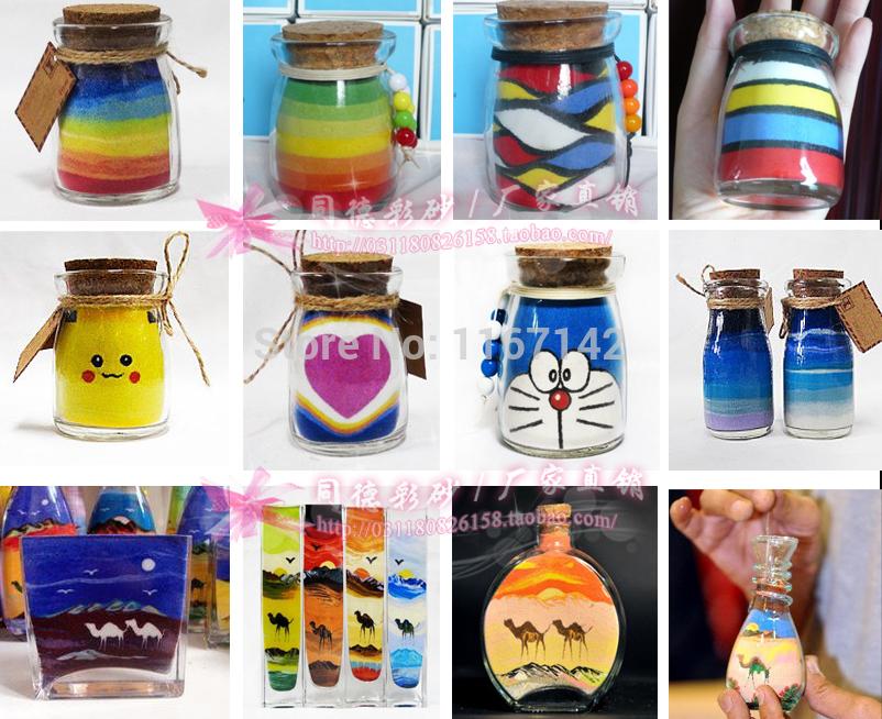 Как сделать разноцветный песок в бутылке